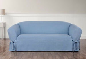 Authentic Denim Light Blue One Piece Loveseat Slipcover By Sure Fit Slip Cover Ebay