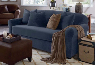 Sure Fit Stretch Suede Storm Blue separate seat sofa slip cover slipcover (Stretch Suede Sofa)