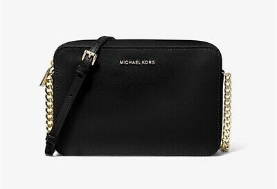 Michael Kors Jet Set Large Saffiano Leather Black Crossbody Bag