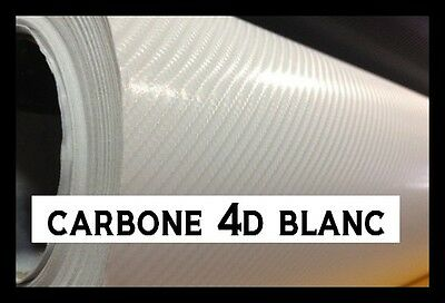 film carbone 4d blanc 152 x 20 cm brillant covering