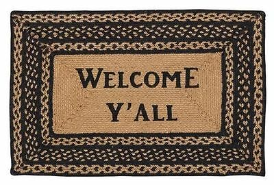 New Primitive Southern WELCOME Y'ALL BRAIDED RUG Black Tan Floor Mat  20