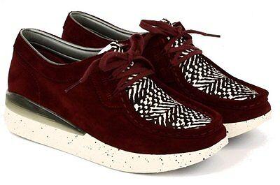 Clarks Ladies Ladies Jade Lo  Wine Suede Combi Lace Up Shoes UK Size 6,7,8 D