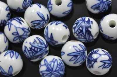 20x Denim Blue White Leaves Round  Floral Porcelain Ceramic Beads ()