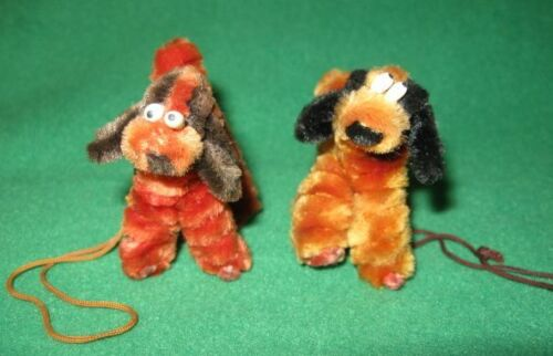 2 Vintage Chenille Dogs Ornaments