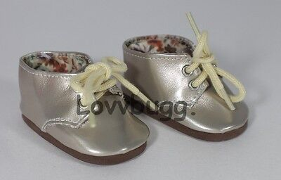 "Lovvbugg Metallic Oxfords GOLD for 18"" American Girl or Boy Doll Shoes"