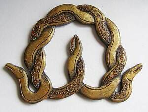 Celtic Knot Snake Wall Hanging Plaque, Antique Gold 22cm Wide Carved Wood