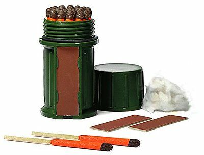 Uco Stormproof Waterproof Match Kit W  Green Case  25 Matches  3 Strikers