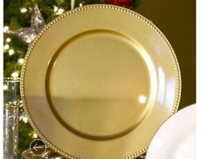 """Gold Plastic Charger Plates with Beaded Rim, 13"""" inch Round"""