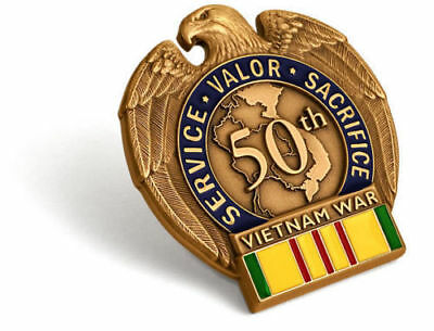 Vietnam War 50th Anniversary In-Theater Veteran Lapel Pin Service Medal Ribbon