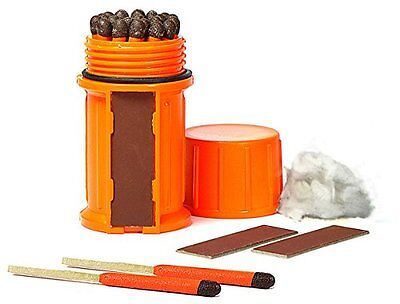Stormproof Match Kit 25 Matches   Extra Strikers In Orange Waterproof Case Uco