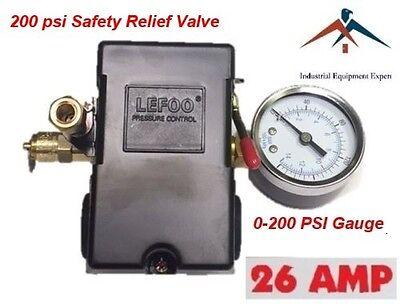 Hd Pressure Switch Air Compressor 145-175 4 Port 26 Amp W Gauge Pop Off Valve