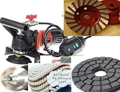 5 Wet Polisher Grinder 17 Polishing Pad Grinding Cup Granite Concrete Masonry