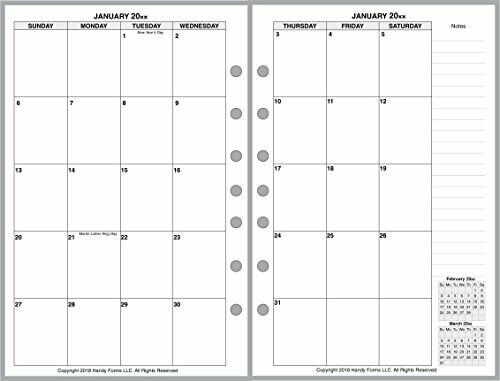 2021 Monthly Planner for 7-Ring notebooks by Franklin Covey, Day-Timer, DayRunne