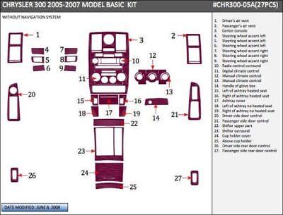 CHRYSLER 300 HEMI FIT 2005 2006 2007 W/O NAVIG INTERIOR WOOD DASH TRIM KIT -