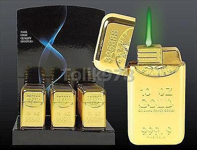 "Feuerzeug "" Fine Gold 999.9"" - Gasfeuerzeug ""Finegold"", grüne Sturmflamme"
