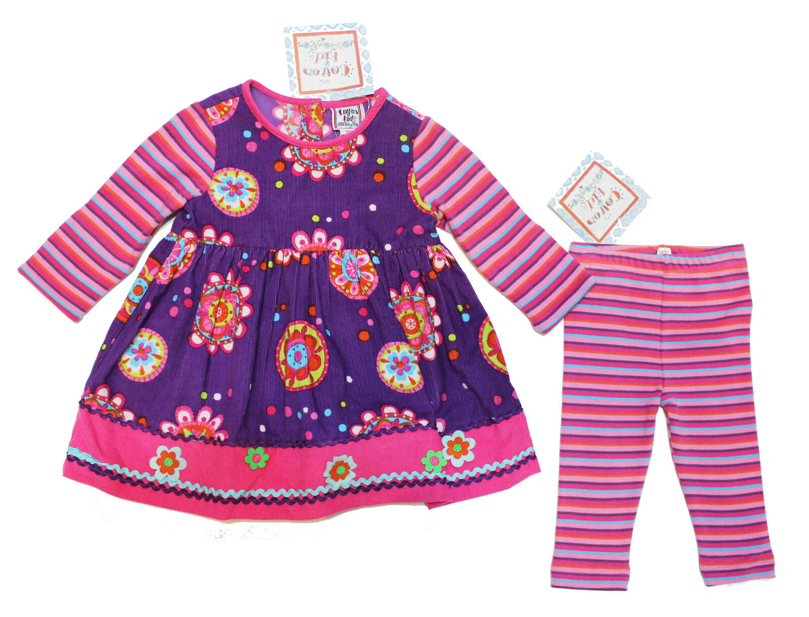 NWT Cotton Kids Baby Girl Flower Corduroy Dress and Legging Set