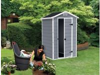 NEW Keter Manor Outdoor Plastic Garden Storage Shed, 4 x 3 In Grey