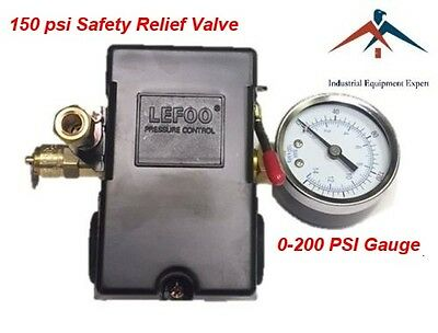 Air Compressor Pressure Control Switch 4 Ports 95-125 Psi W Gauge Pop Off Valve