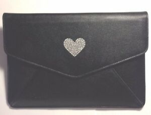 DEOS Swarovski Crystal Heart Tech Clutch Leather Sleeve Case For iPad Mini