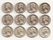 12 Silver Washington Quarters
