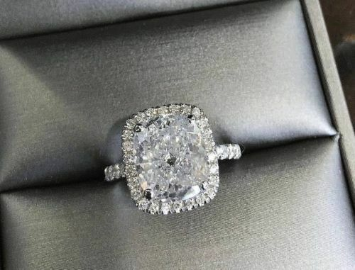 2.70 Ct Cushion Cut Diamond Halo Round Cut Engagement Ring H,IF GIA Gold or Plat 3