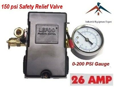 Air Compressor Pressure Switch Set 4 Port 95-125 Psi W S Gauge W Safety Valve