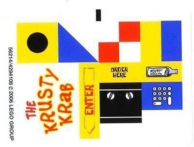 LEGO 3825 - Spongebob - Krusty Krab - STICKER SHEET