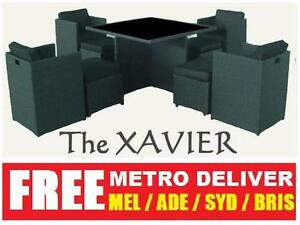 2012 XAVIER 9PCS WICKER OUTDOOR DINING TABLE SETTING