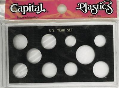 Capital Plastic Holder For US Year Set W/ Small Dollar $ & 5 Quarters Black Case
