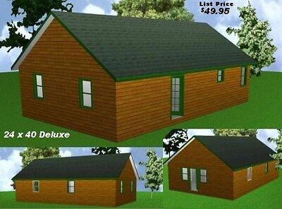 24x40 Deluxe Cabin Plans Package, Blueprints, Material List, used for sale  Collettsville
