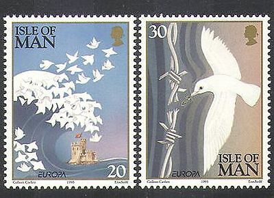 ISLE OF MAN 1995 EUROPA/PEACE/FREEDOM/DOVES/WAVE/CASTLE/BARBED WIRE 2V N37996