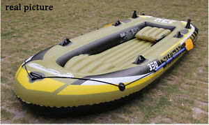 Great thick rubber inflatable boat, lake fishing, oar and pump