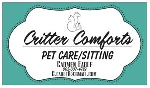Offering pet sitting service in Yarmouth county