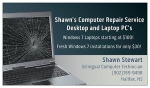 Shawn's $30 Computer repair service - Laptop & Desktop PC repair
