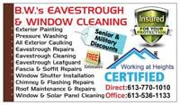 #1 FOR: EAVESTROUGH & WINDOW CLEANING, PRESSURE WASHING
