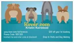 Save $20 on Drop-in Visits and Dog Walking