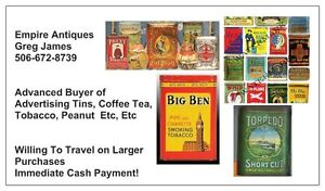 EMPIRE ANTIQUES IS BUYING, COFFEE, TEA, TOBACCO TINS FOR CASH