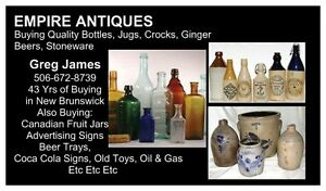 WANTED: STONE GINGER BEER BOTTLE, CROCKS, JUGS,  BOTTLES, ETC