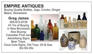 NEW BRUNSWICK BUYER OF CANADIAN STONEWARE CROCKS, JUGS BOTTLES