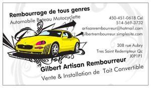 Rembourrage Auto Bateau  Motoneige Toit Convertible 514-569-3732
