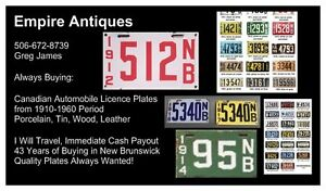 CANADIAN AUTOMOBILE LICENCE PLATES WANTED FROM 1910-1965