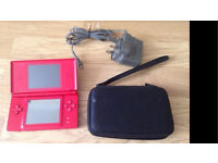 Nintendo ds lite console with game charger and case