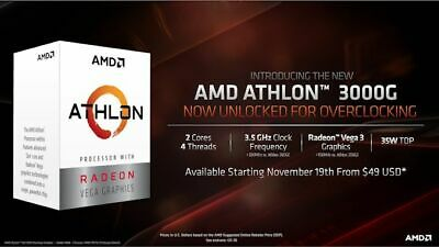 AMD Athlon 3000G 2-Core/4-Thread Unlocked Desktop Processor with Radeon Graphics