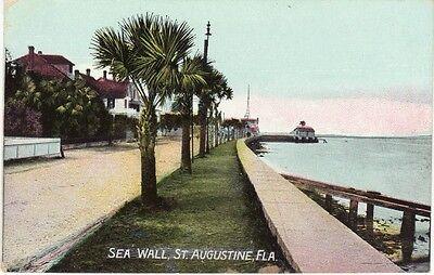 Antique POSTCARD c1910s Sea Wall ST. AUGUSTINE, FL FLORIDA Unused