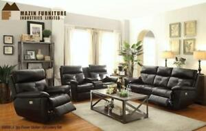 Black Power Recliner Set with Console MA10 9585BLKUP (BD-1338)