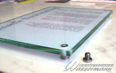 ESG-Echtglas Schild, Hinweisschild selbst bedruckbar A4