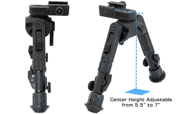 """UTG Leapers Tactical Recon 360 TL Bipod 5.5""""-7.0"""" Center Height Picatinny"""