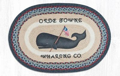 BRAIDED HAND STENCILED OVAL PATCH AREA RUG By EARTH RUGS--FOLK ART WHALE ()