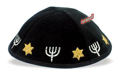 KIPPAH WITH STAR OF DAVID & MENORAH - jewish hat cap yarmulke yamaka yarmulka
