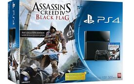 Black Sony PS4 With Two Controllers and Assassins Creed + Dock